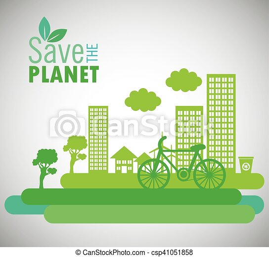 Lets Save The World Environmental City And Bike Design   Csp41051858