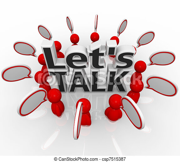 Let's Talk People Group in Circle Discuss in Speech Clouds - csp7515387