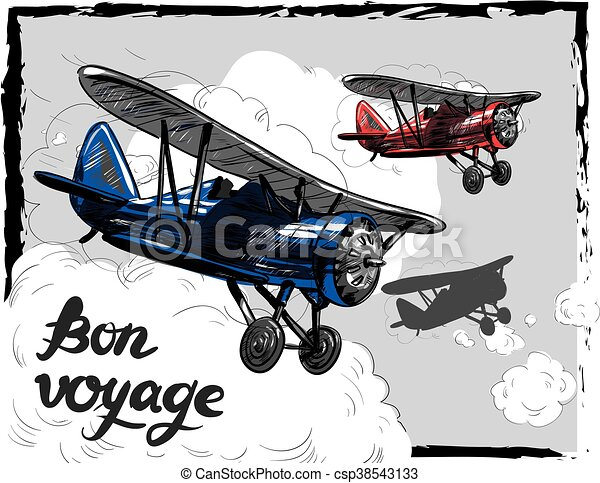 Lets travel concept vector illustration. Retro airplane poster. Old model plane is flying in the sky postcard. Bon Voyage - csp38543133
