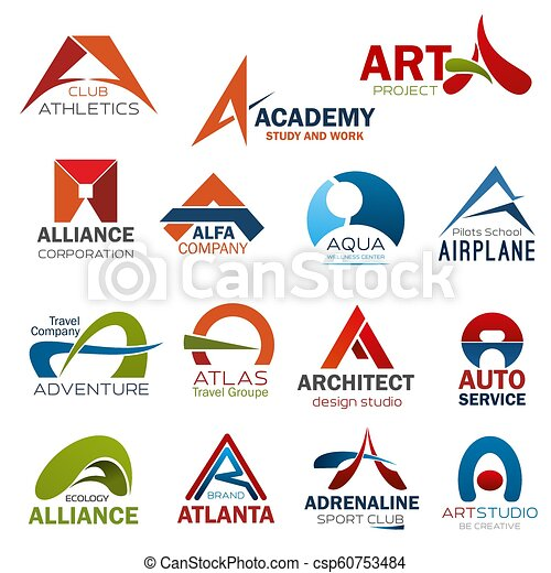 letter a corporate brand identity icons letter a icons for corporate identity of art design studio athletics gym club or https www canstockphoto com letter a corporate brand identity icons 60753484 html