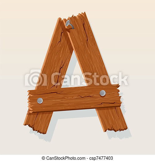 Letter A From vector Wooden Alphabet - csp7477403