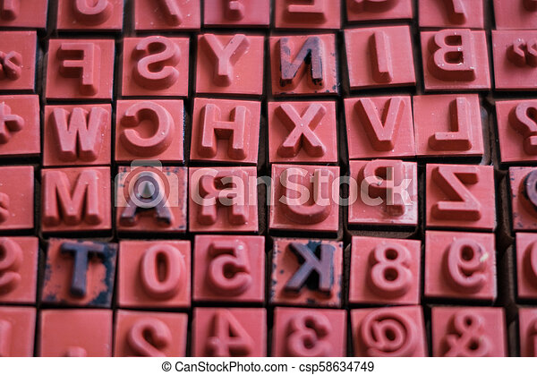 letter and number stamps macro - alphabet letterpress , - csp58634749