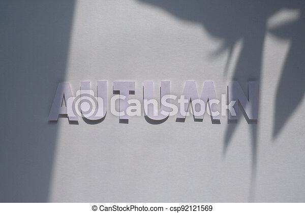 letter autumn cut from paper. Monochromatic concept - csp92121569