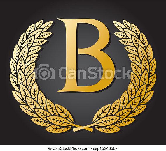 letter B and gold laurel wreath  - csp15246587
