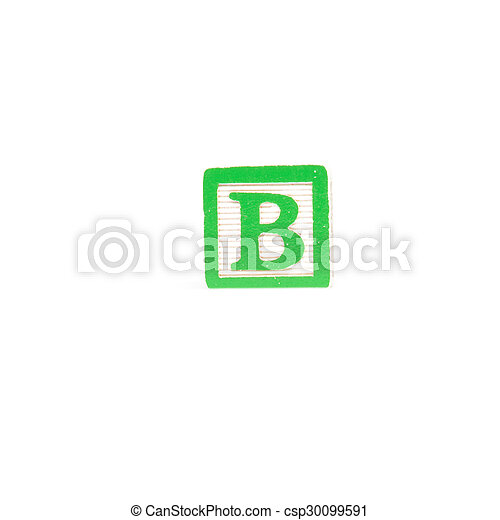 Letter b block Block letter on a white background isolated stock