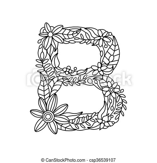 Letter B Coloring Book For Adults Vector Floral Alphabet Letter
