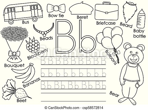 Letter B English Alphabet Writing Practice For Children Educational Game Coloring Book Vector Illustration Canstock