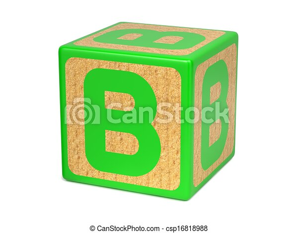 Letter B on Childrens Alphabet Block