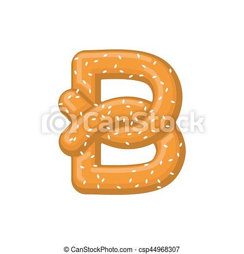 Letter b pretzel. snack font symbol. food alphabet sign