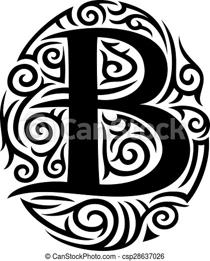 letter b tattoo tribal design. Black Bedroom Furniture Sets. Home Design Ideas