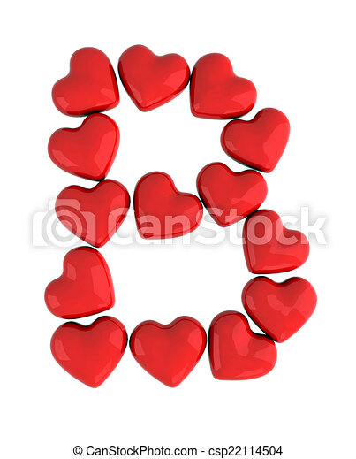 Letter B With Red Hearts