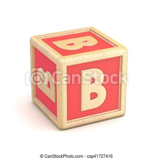 Letter b wooden alphabet blocks font rotated 3d render clipart