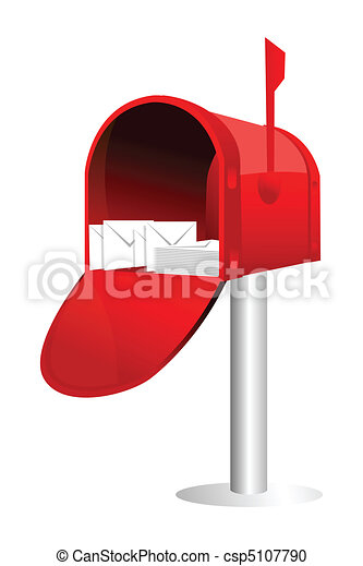 Illustration of letter box with letters on white background.