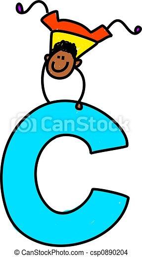 letter c boy happy little ethnic boy balancing on giant letter c
