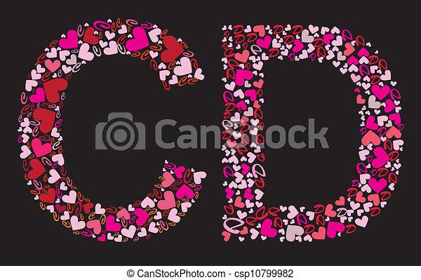 Letter C D Valentine Alphabet Set With Heart Vector Font