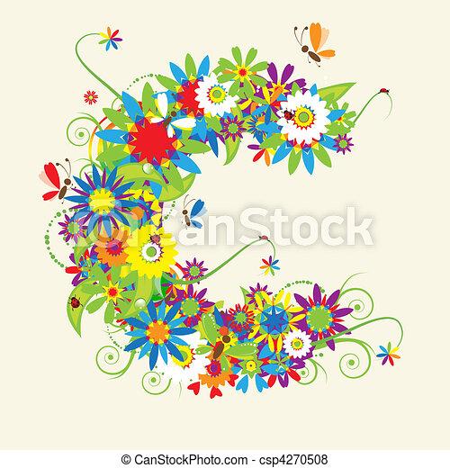 Letter C, floral design. - csp4270508