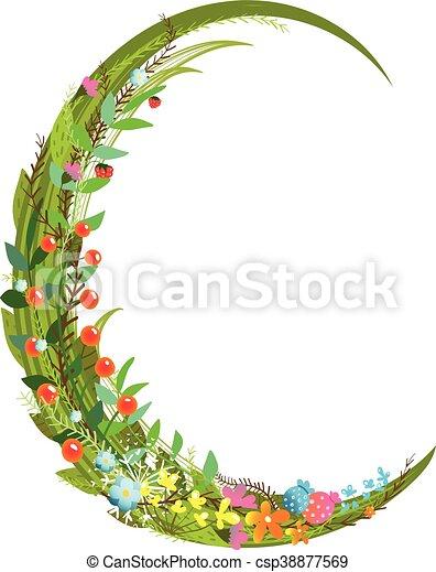 Letter C Floral Latin Decorative Character Alphabet Lettering Sign