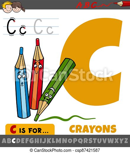 letter C from alphabet with cartoon crayons characters - csp87421587