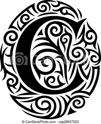letter c tattoo tribal design. Black Bedroom Furniture Sets. Home Design Ideas