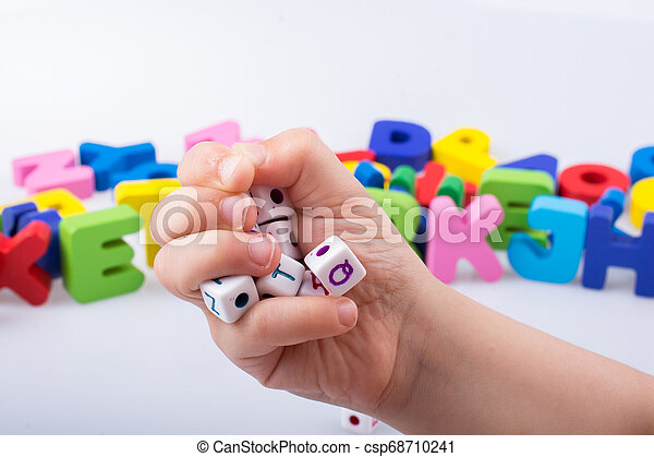 Letter cubes of made of wood - csp68710241