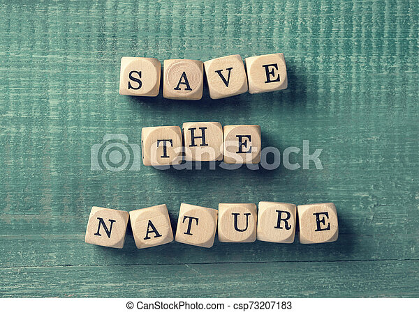 Letter cubes with word save the nature - csp73207183