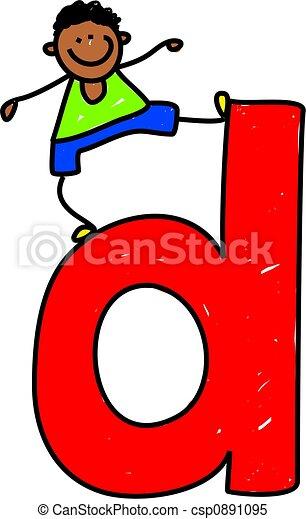 Letter D Boy Happy Little Ethnic Boy Standing Ontop Of Giant Letter