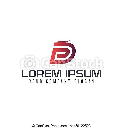 letter d dragon logo design concept template