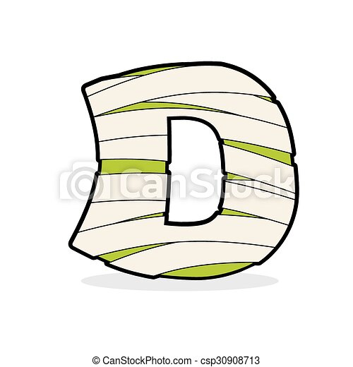 Letter D Mummy Typography Icon In Bandages Egyptian Zombie