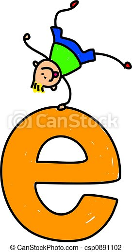 letter e boy happy little boy balancing with one hand on a giant rh canstockphoto com letter a clip art images letter e clip art free