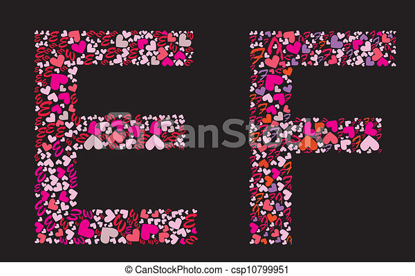 Letter E F Valentine Alphabet Set With Heart Vector Font