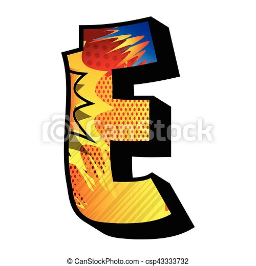 letter e filled with comic book explosion background vectors rh canstockphoto com free letter e clip art