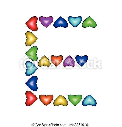 letter e made of multicolored hearts on white background clip art rh canstockphoto com
