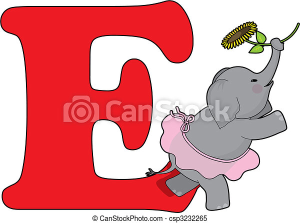 Letter E With An Elephant   Csp3232265