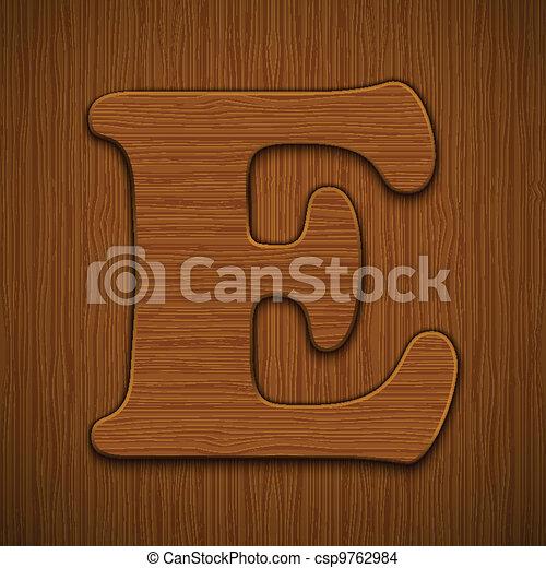 "Letter ""E"". Wooden alphabet. Vector illustration. - csp9762984"