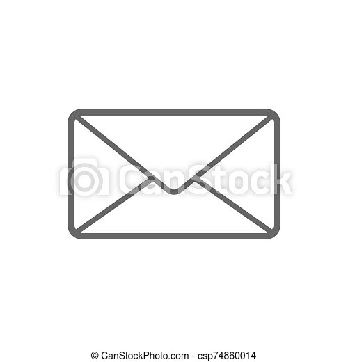 Letter email icon for user interface collection. Thin line letter email icon isolated on white. EPS 10 - csp74860014