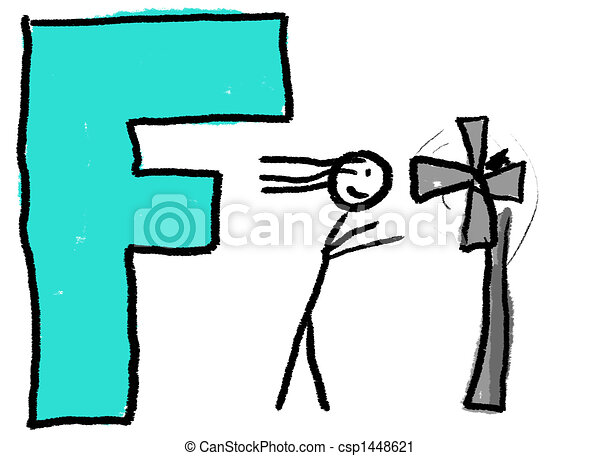 A childlike drawing of the letter f with a stick person in