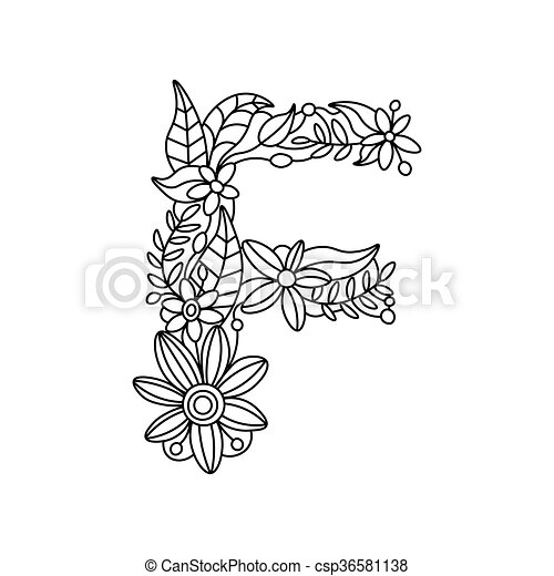 Letter F Coloring Book For Adults Vector