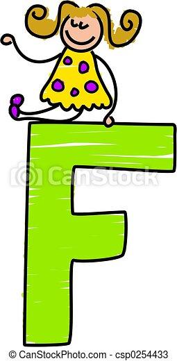 letter f girl little girl sitting ontop of letter f rh canstockphoto com small letter f clipart decorative alphabet letter f clipart