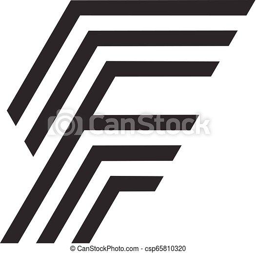Letter F vector line logo design - csp65810320
