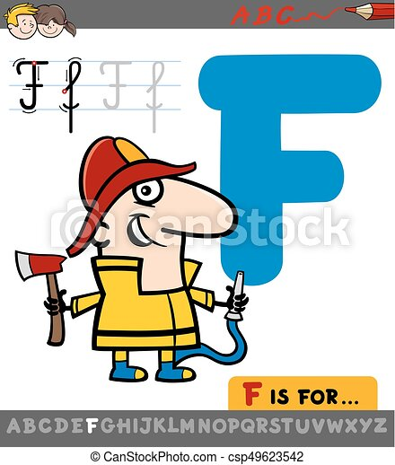 letter f with cartoon fireman educational cartoon eps vector rh canstockphoto com clipart of letter of black and white letter f objects clipart