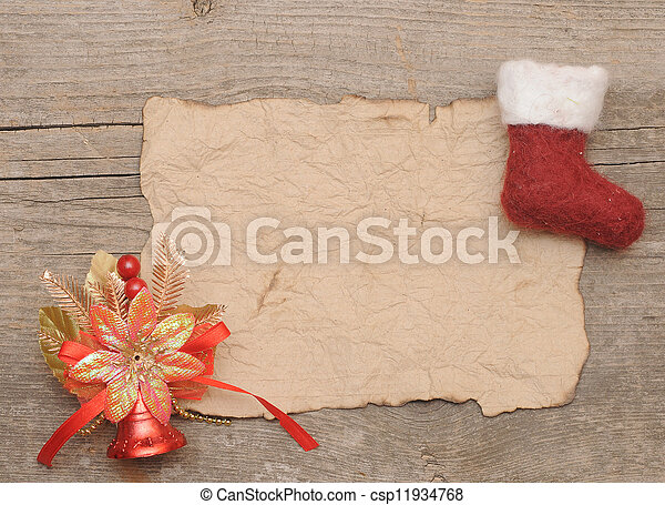 Letter for santa with old parchment and christmas stocking letter for santa with old parchment and christmas stocking spiritdancerdesigns Gallery