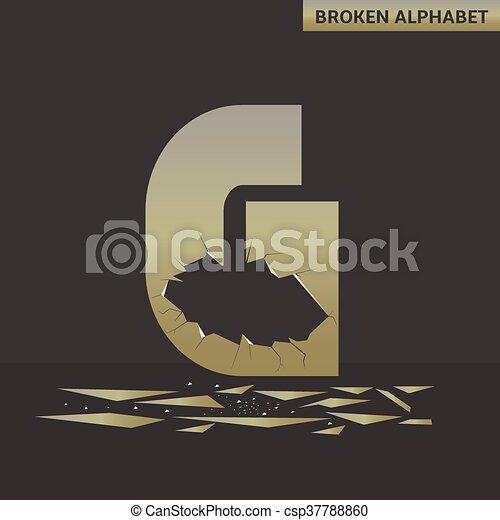 Letter G. Broken mirror - csp37788860