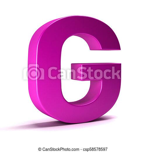 Letter G Initial Girl Pink color  3D Render Illustration