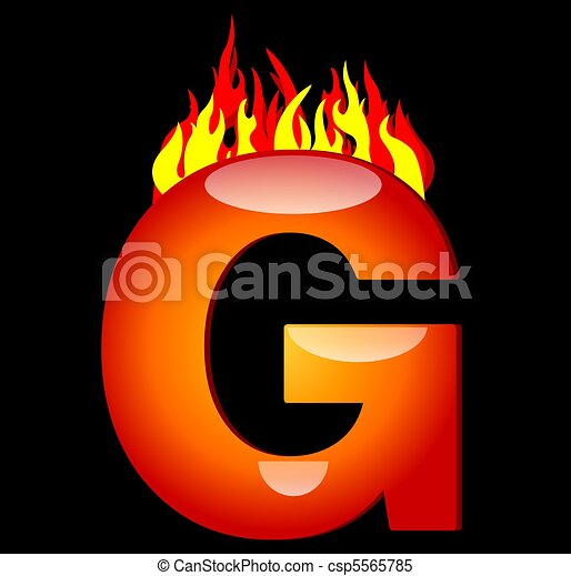 Letter G On Fire