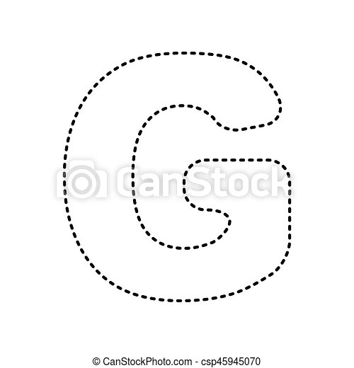 letter g sign design template element vector black dashed icon on white background isolated