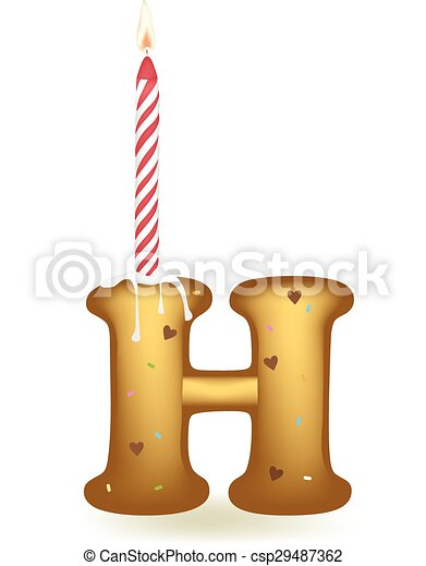 Letter H Birthday Candle
