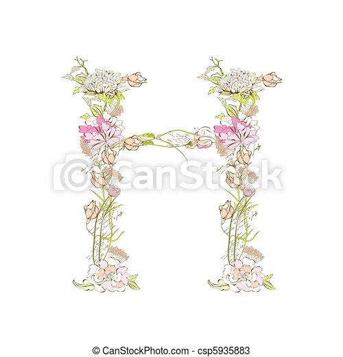 Spring floral font letter h vectors Search Clip Art Illustration