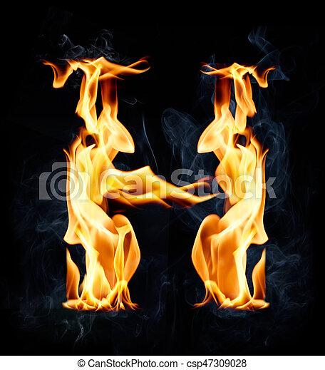 "Fire alphabet letter ""H"" — Stock Photo © Kesu01 #8526372"