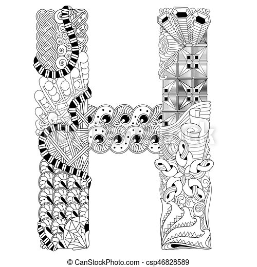 Letter h for coloring vector decorative zentangle object vector letter h for coloring vector decorative zentangle object altavistaventures Choice Image