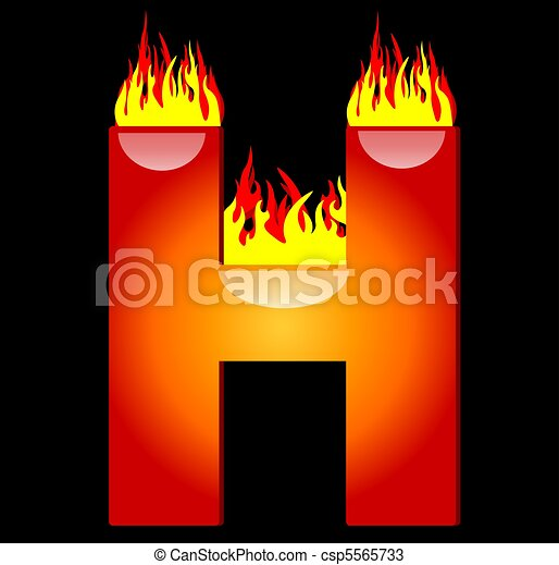 Fire Font Letter H From Alphabet Stock Photo & More Pictures of ...